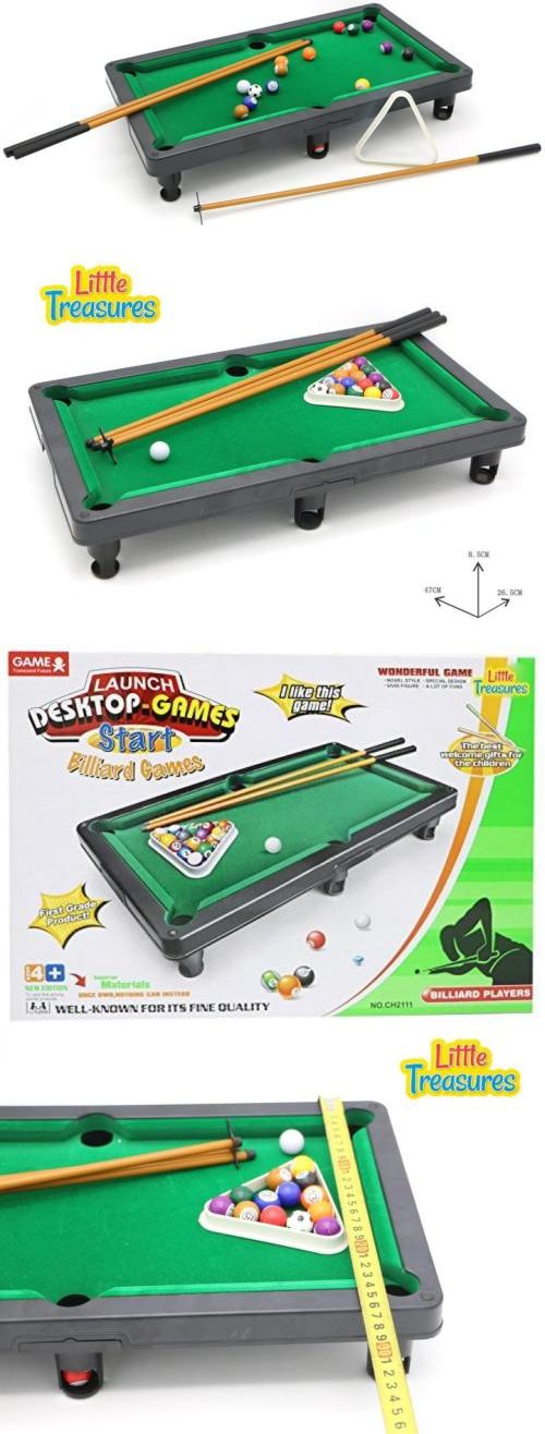 Tables 21213: Little Treasures Mini Table Top Pool Billiards Play Set With  Cues, Triangle