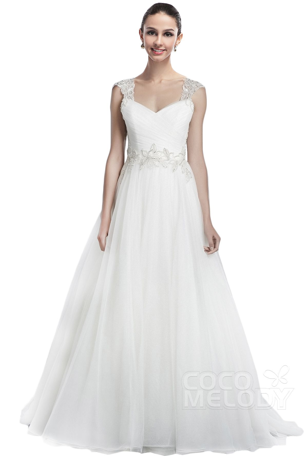 A-Line Sleeveless Open Back Wedding Dress #weddingdress #cocomelody