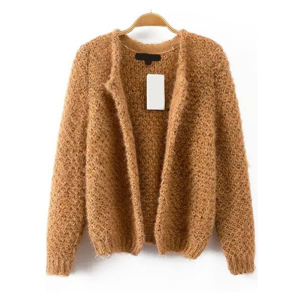 Crop Knit Khaki Cardigan ($15) ❤ liked on Polyvore featuring tops ...