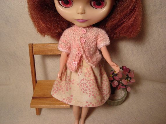 Blythe Pink Cherry Blossom Print Skirt by DollyDressUp on Etsy, $8.00