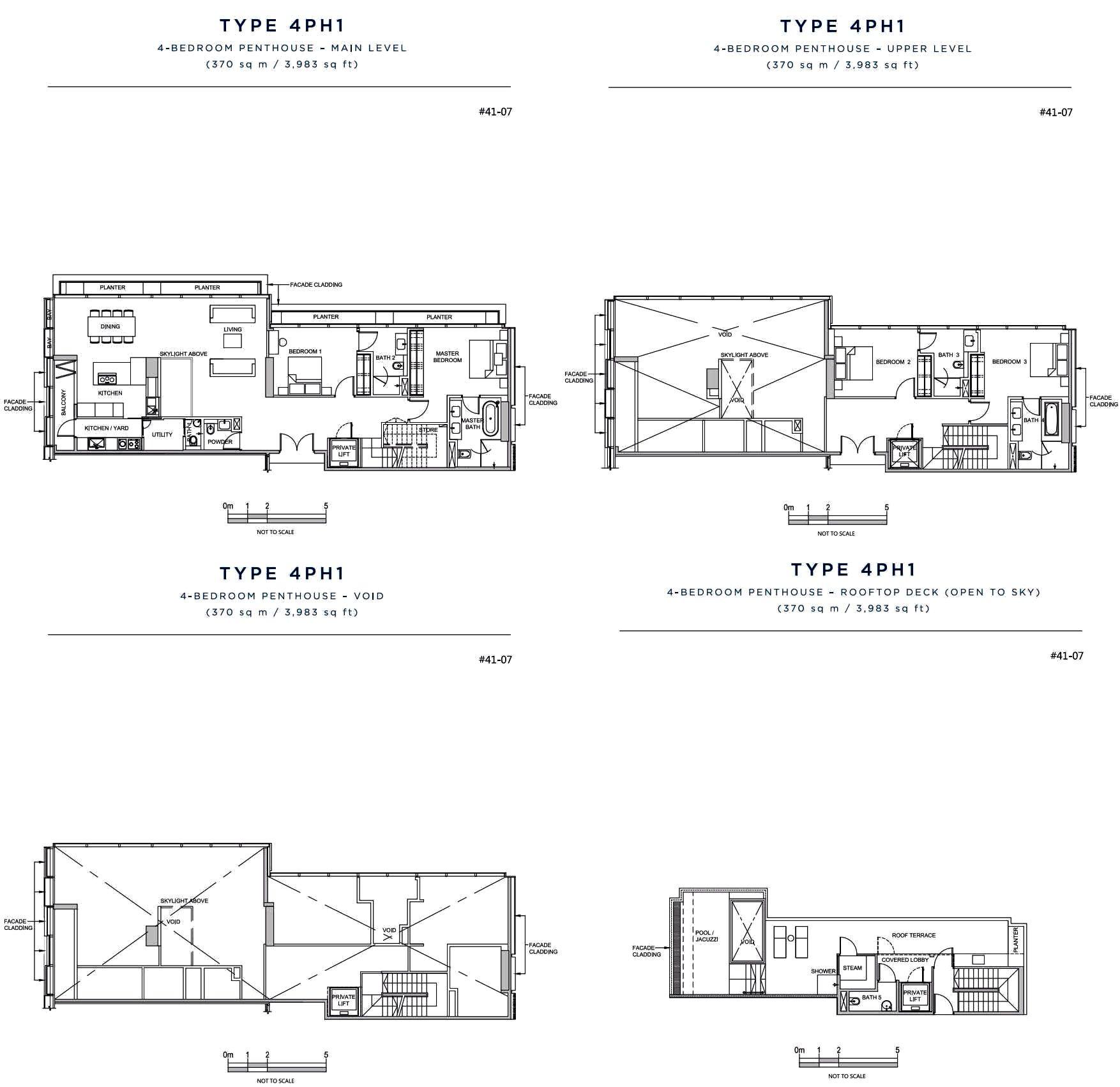 South Beach Residences Singapore Penthouse 4 Bedroom Pent House Penthouse Floor Plans