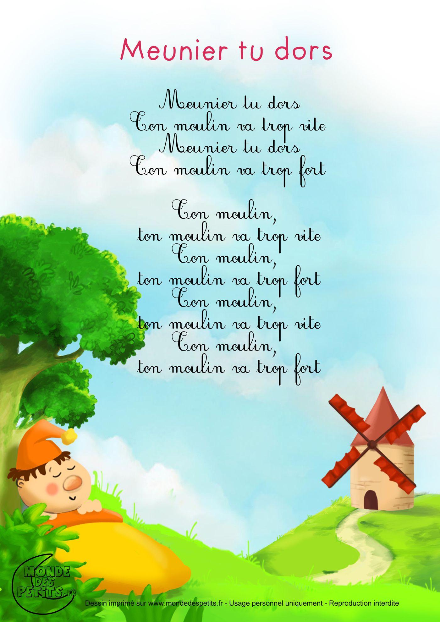Paroles_Meunier tu dors | FLE - Enfants / Comptines | Kids ...