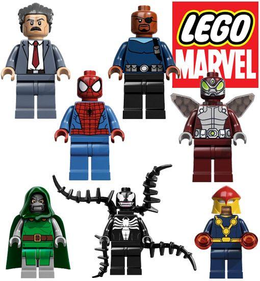 Mini-Figuras LEGO Marvel: Nick Fury, Spider Man, Nova, Beetle ...