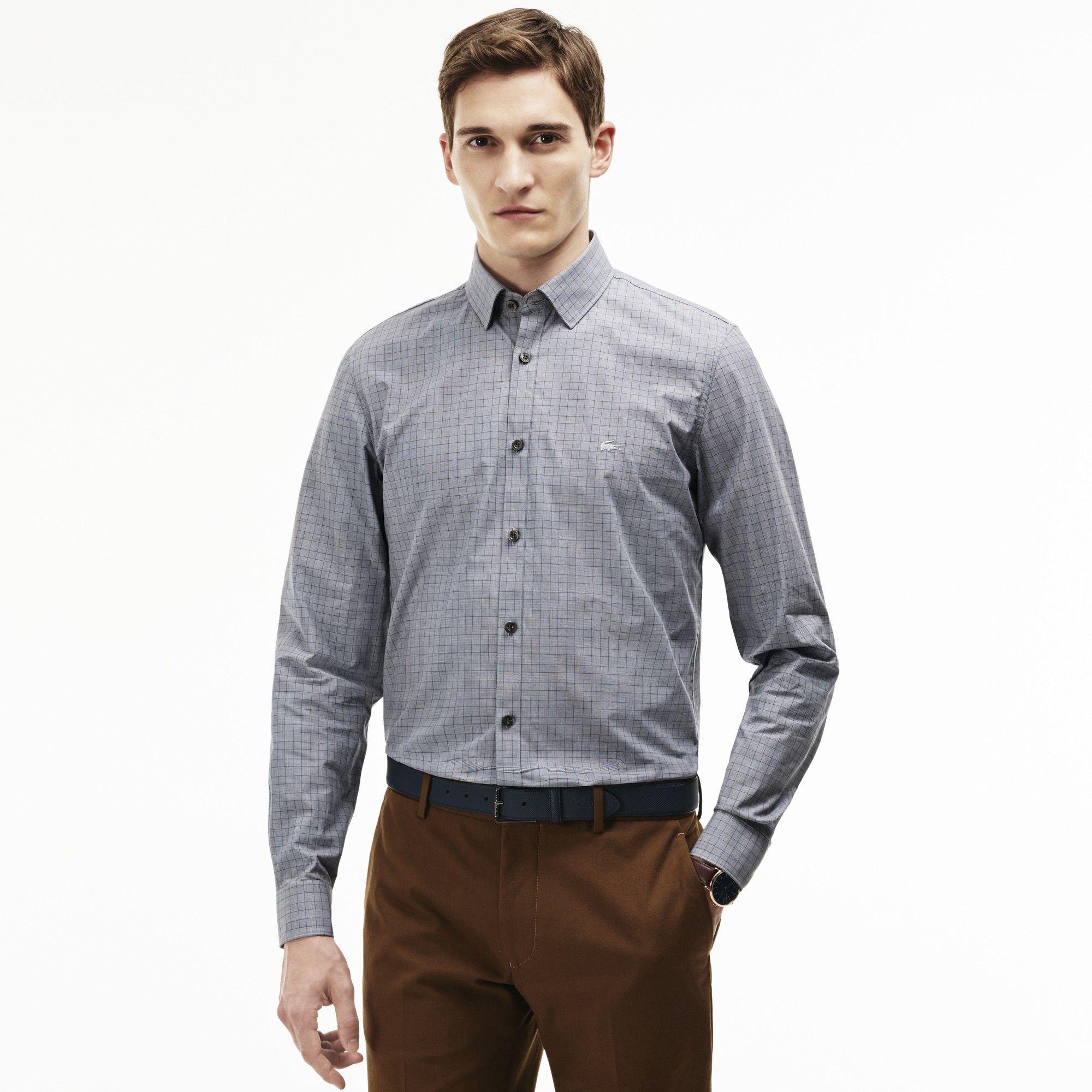 e35578db12d2d7 LACOSTE Men s Slim Fit Glen Plaid Poplin Shirt - black graphite-white.   lacoste  cloth