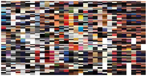 British artist Arthur Buxton set out to chart the color trends used on Vogue magazine covers through the years from various editions around the world in his series Vogue Covers Covered.