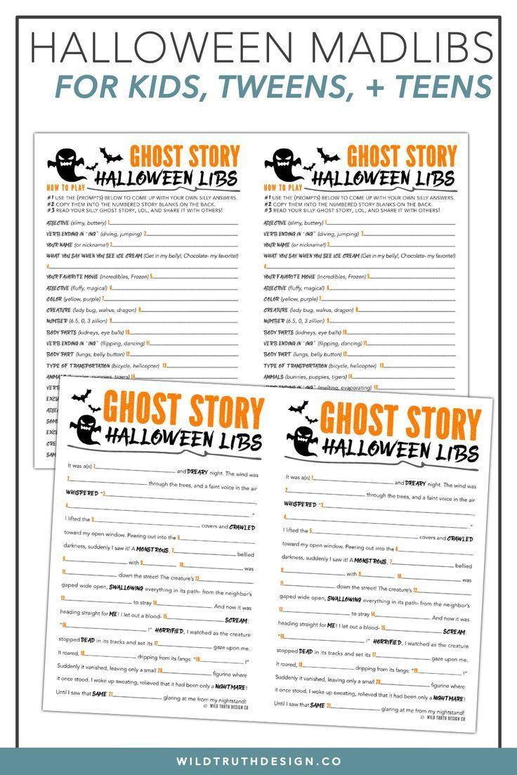 printable mad libs halloween story for kids, tweens, & teens - ghost