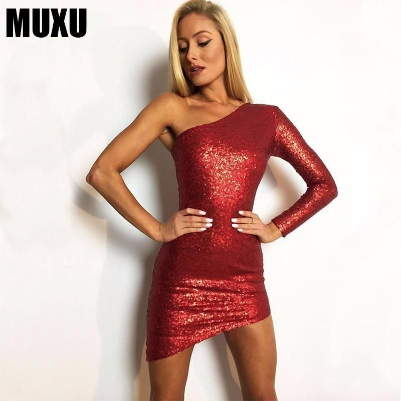 71921dd0 MUXU red sequin dress backless long sleeve dress bodycon sexy women  clothing summer clothes for women sundress MINI dress