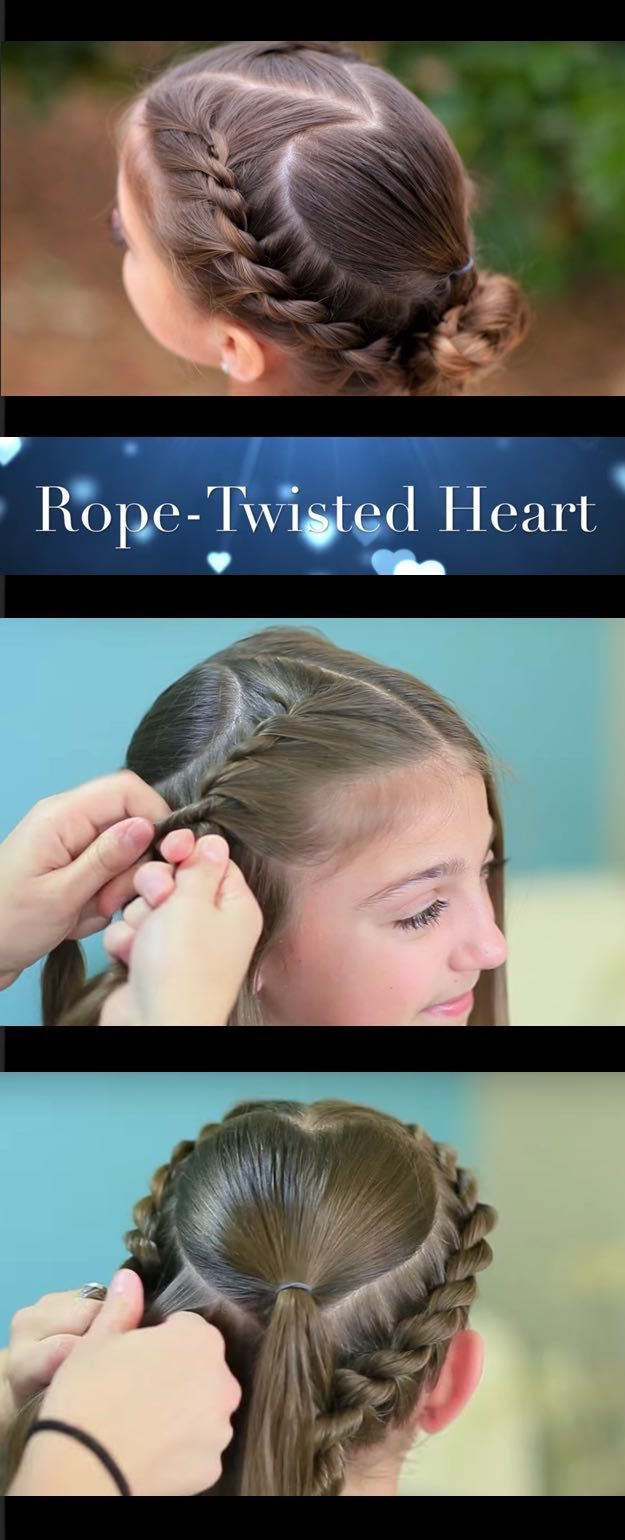 Best hair braiding tutorials rope twisted heart cute girls
