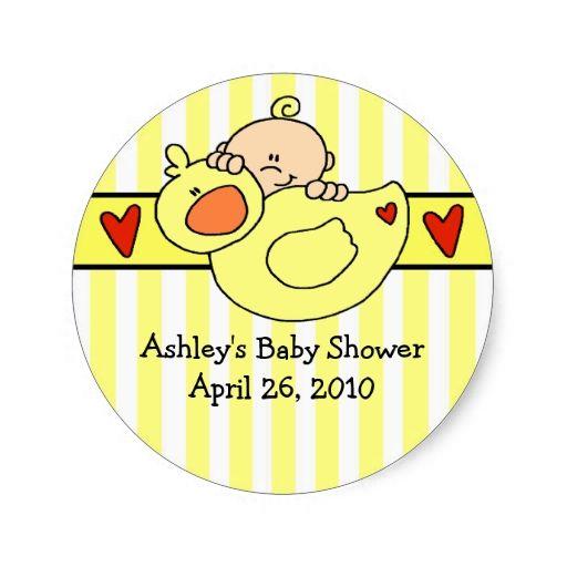 Peeking Baby and Duck Baby Shower Sticker