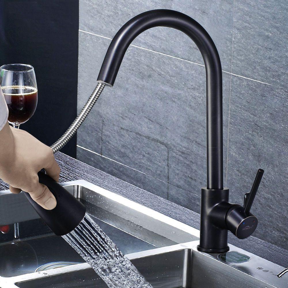 Schwarz Ausziehbar Kuchenarmatur Mischbatterie Wasserhahn