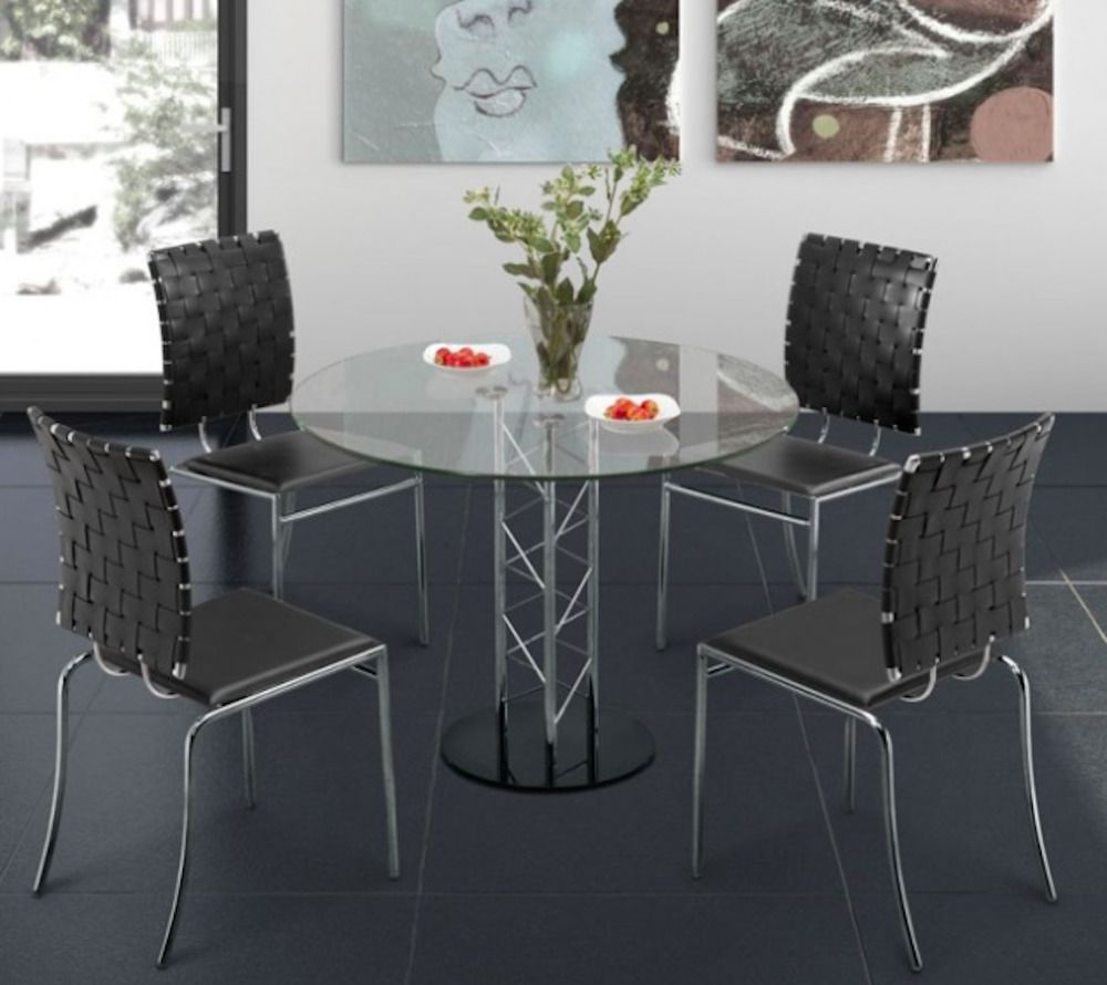 Round Gl Dining Table For Online Furniture Zuo Modern Dealer
