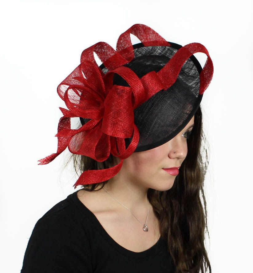 f9b20e81c3c4e Flora Dora Red and Black Fascinator Hat for Weddings