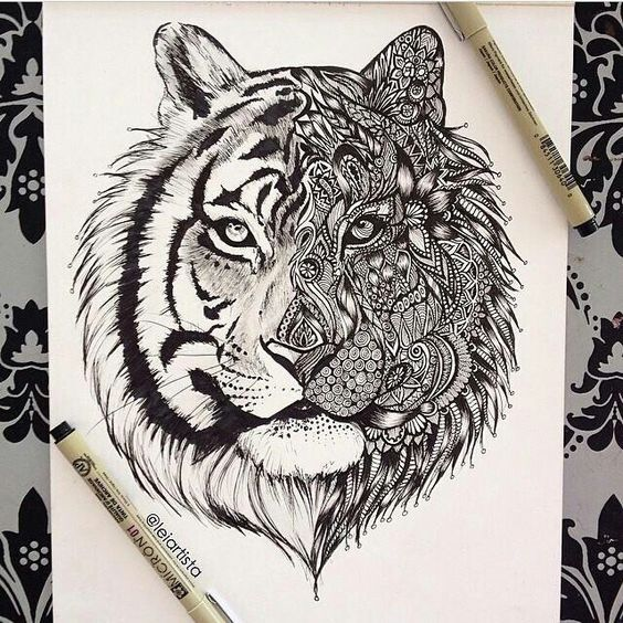 Dope Artz on Totems - copy coloring pages of tiger face