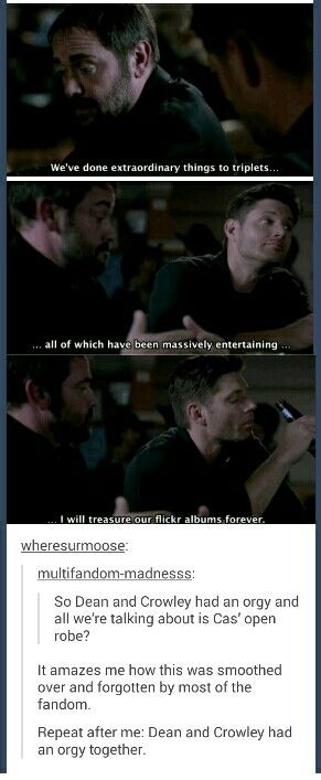 Dean And Crowley Had An Orgy Tumblr Gets Real Where Supernatural Season Ten Is Concerned And Come On Who Can Resist Demondean