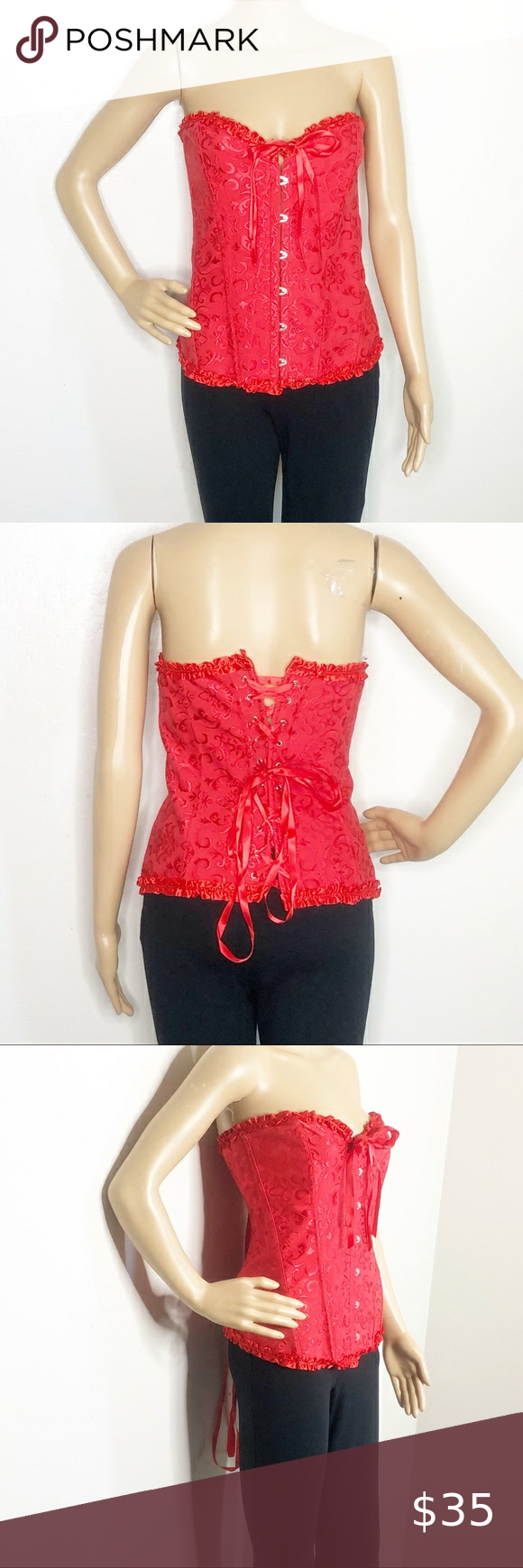 Photo of Plus size red lace up sexy corset Sexy red corset with drill trim, eye and hook/…