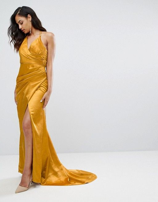 Bariano | Bariano Drape Satin Gown With Strappy Back - ASOS ...