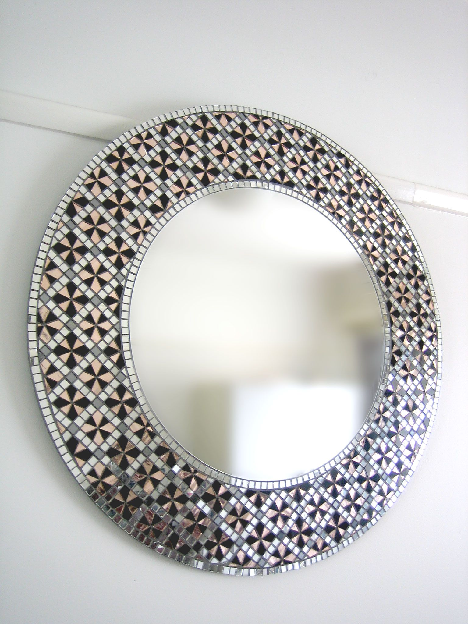 Black Rose mosaic mirror by Mirror Envy. 2 in Series of 4. This is the largest of the series.
