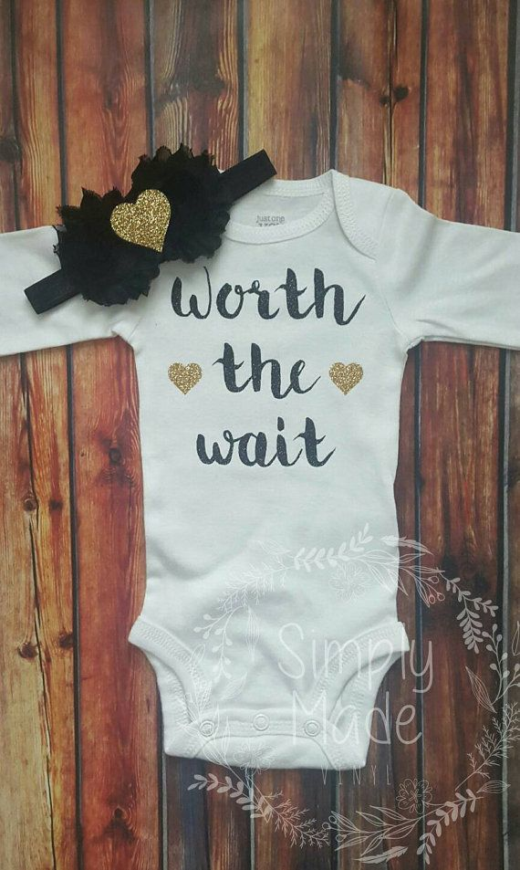 17ca3499e336 Worth the wait newborn onesie. Baby shower by simplymadevinyl