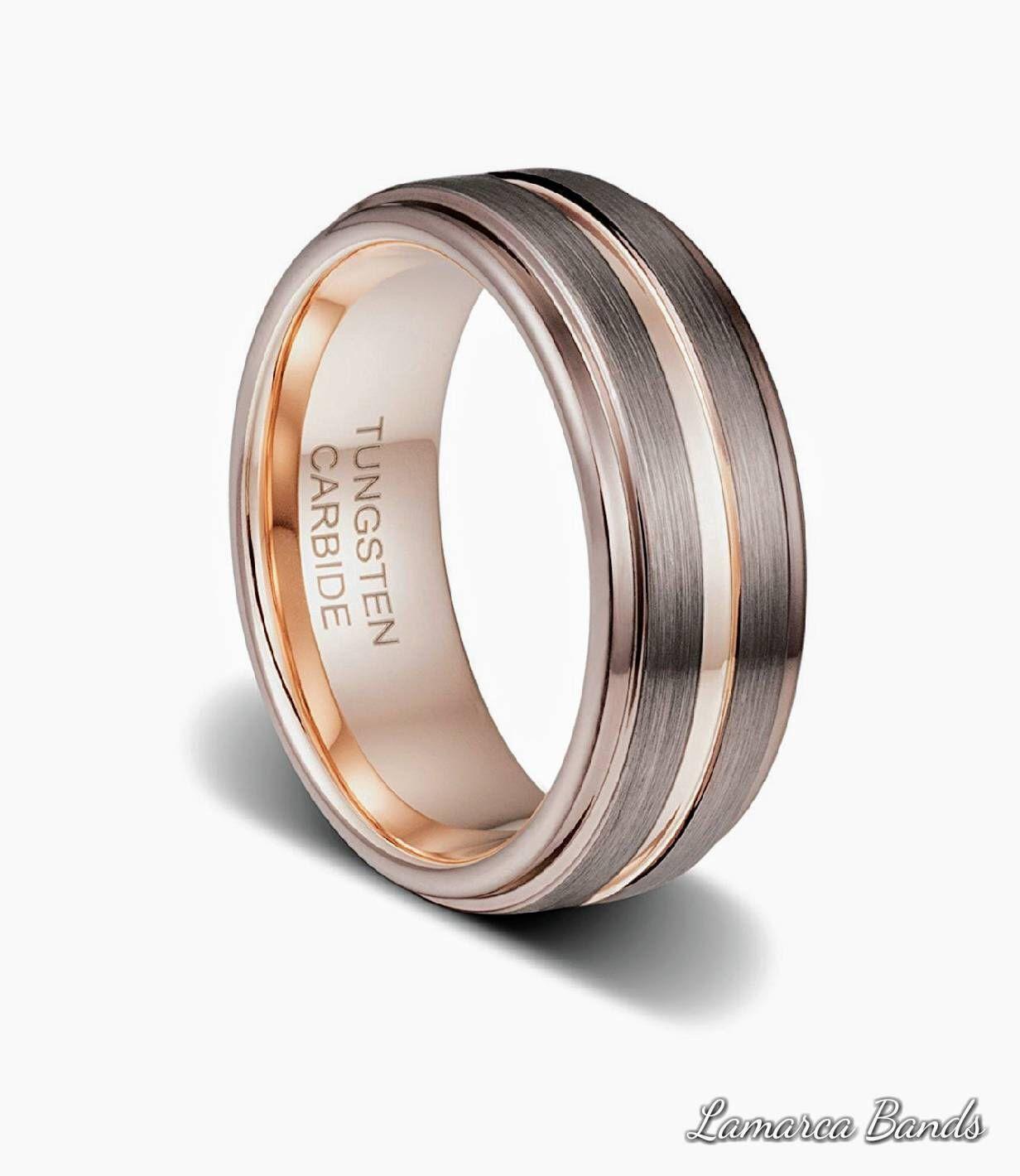 Mens Wedding Band Rose Gold Brown Tungsten Ring Gold Etsy Rose Gold Mens Wedding Band Mens Wedding Rings Rings For Men