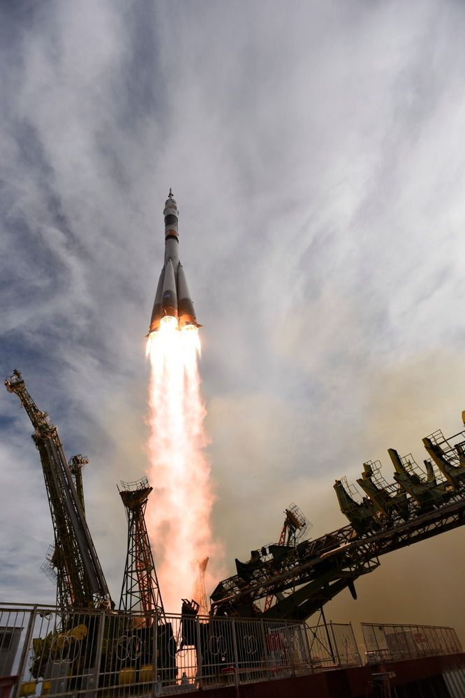 A Soyuz TMA-18M spacecraft launched ESA astronaut Andreas Mogensen, commander Sergei Volkov and Aidyn Aimbetov to the International Space Station on Sept. 2, 2015, from Baikonur cosmodrome, Kazakhstan. <br />