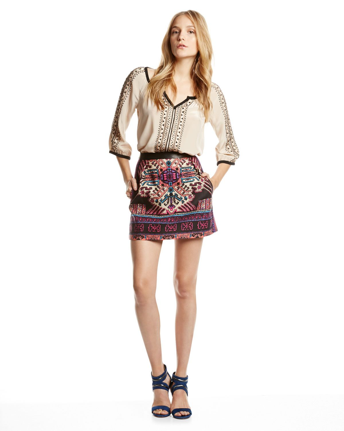 Nanette Lepore Tipis Embroidered Contrast-Trim Top & Ritual Embroidered Short Skirt - Neiman Marcus
