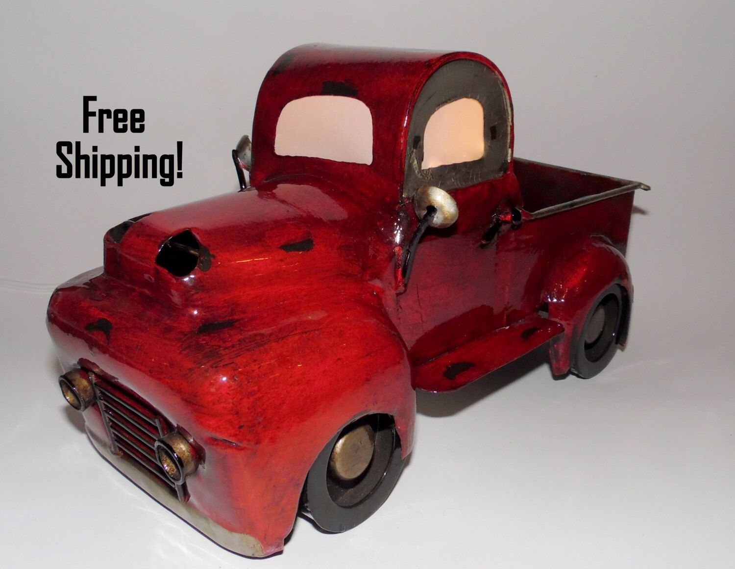 A personal favorite from my Etsy shop https://www.etsy.com/listing/502704064/red-junkyard-truck-accent-lamp-night