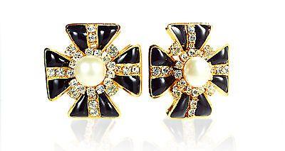 fecb18373d2 CHANEL Black Glass Gold Gilt Maltese Cross Clip On Earrings w Mabe Pearl  Centers