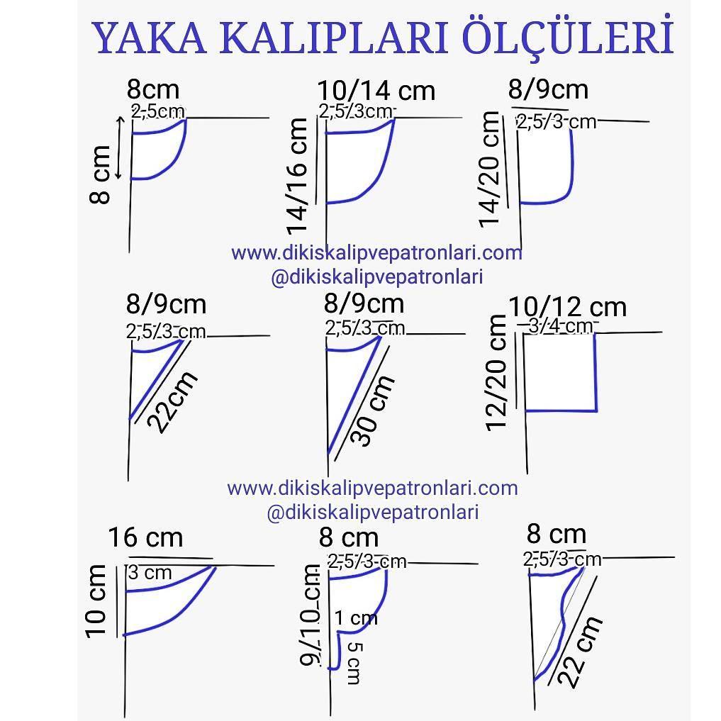Yaka Kalıpları ve Ölçüleri @dikiskalipvepatronlari | Costura ...