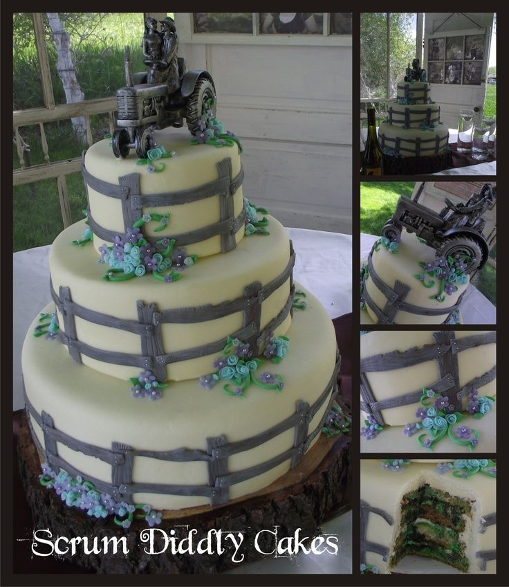 Tractor Cake Toppers For Wedding Cakes With Rustic Fence And Topper