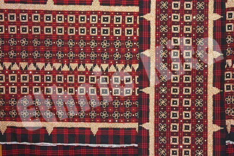 Traditional Woven Lampung Tapis With Square Pucuk Rebung Motif