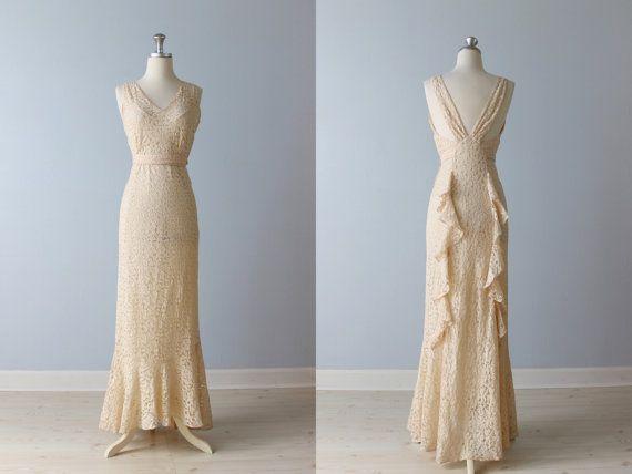 1930s Wedding Dress / 30s Wedding Gown / 30s Lace Dress / Pink Blush ...