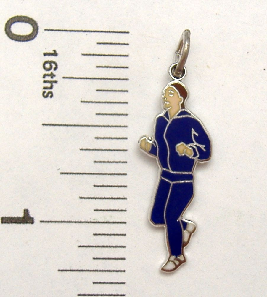 Charm Griffith Sterling Silver enamel JOGGER sports traditional runner #Griffith #Traditional