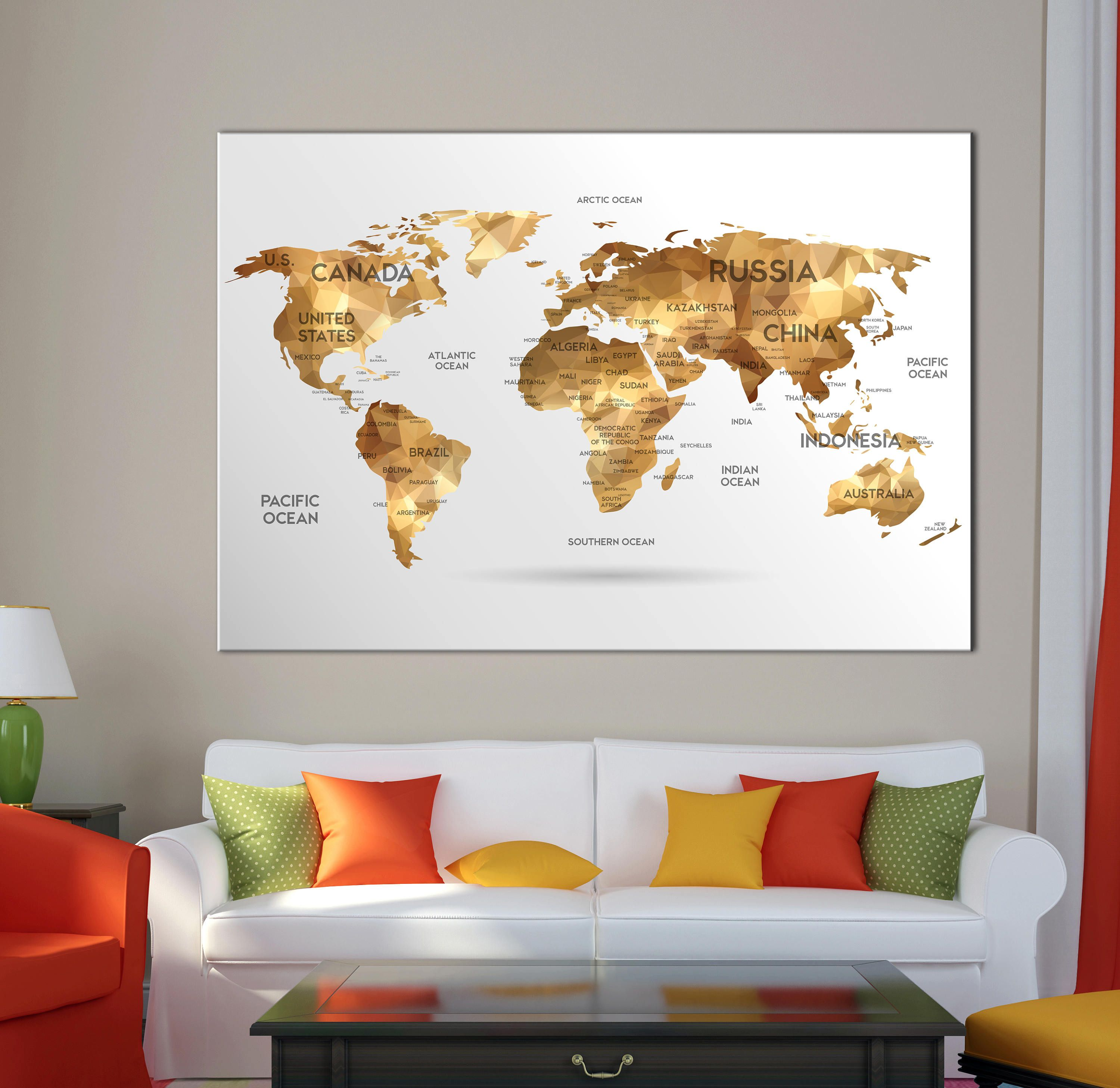 Large world map wall art with countries names canvas print Extra ...