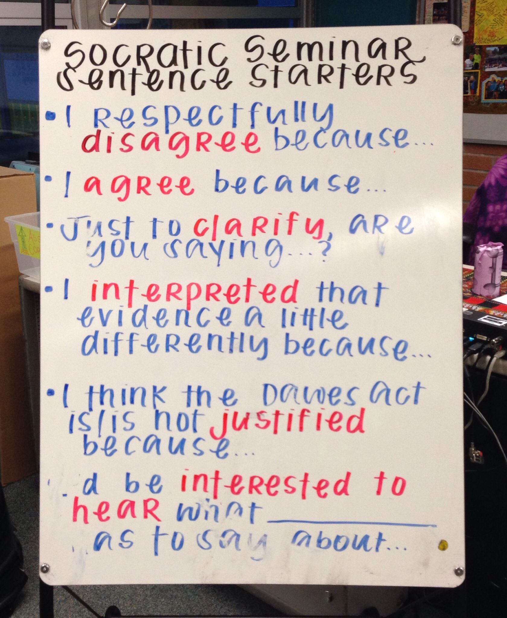 Socratic Seminar Discussion Stems
