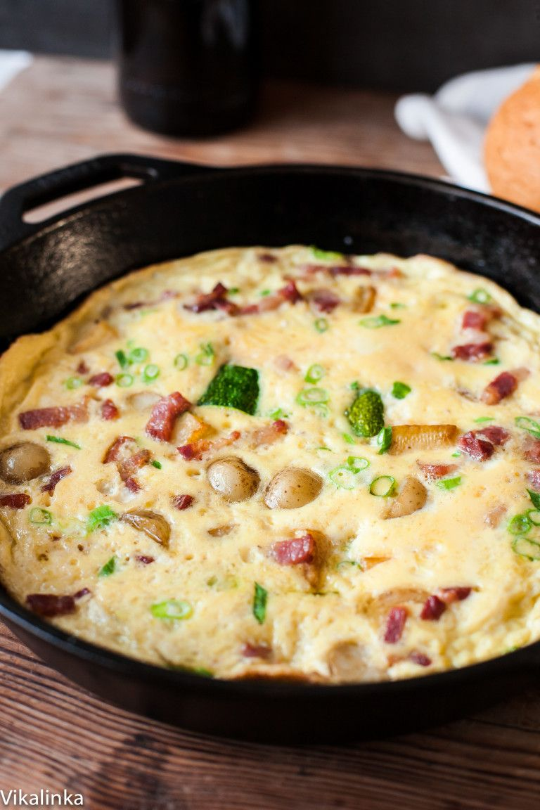 French Omelette with Bacon, Potatoes and Zucchini