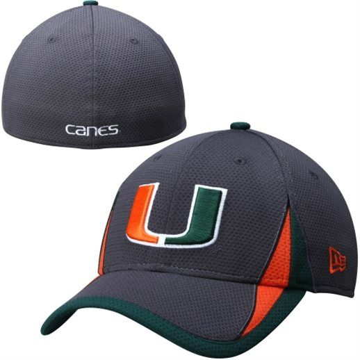 4a5f6d253b967 New Era Miami Hurricanes Graphite 39THIRTY Flex Hat