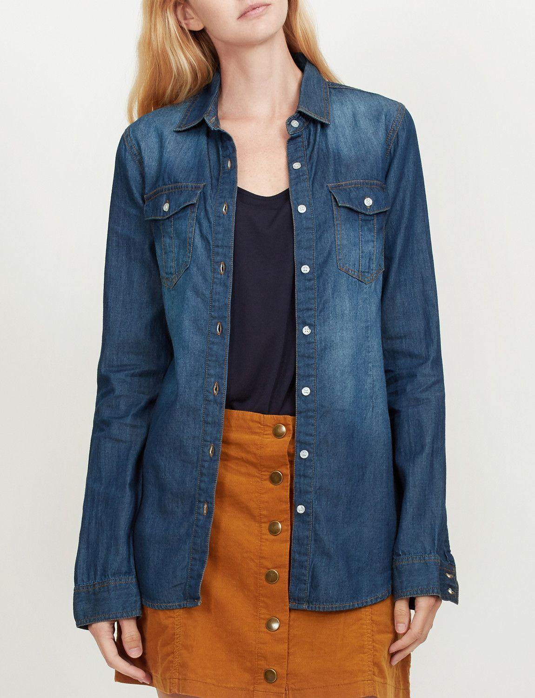 2d1a670d123 LE3NO Womens Vintage Button Down Jean Denim Shirt with Front Pockets