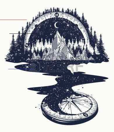 River of stars flows from the mountains and compass, tattoo art... -  River Of Stars Flows From The Mountains And Compass, Tattoo Art… Royalty Free Cliparts, Vectors,  - #art #compass #compasstattoo #flowertattoo #flows #moontattoo #mountains #river #stars #tattoo #tinytattoo<br>