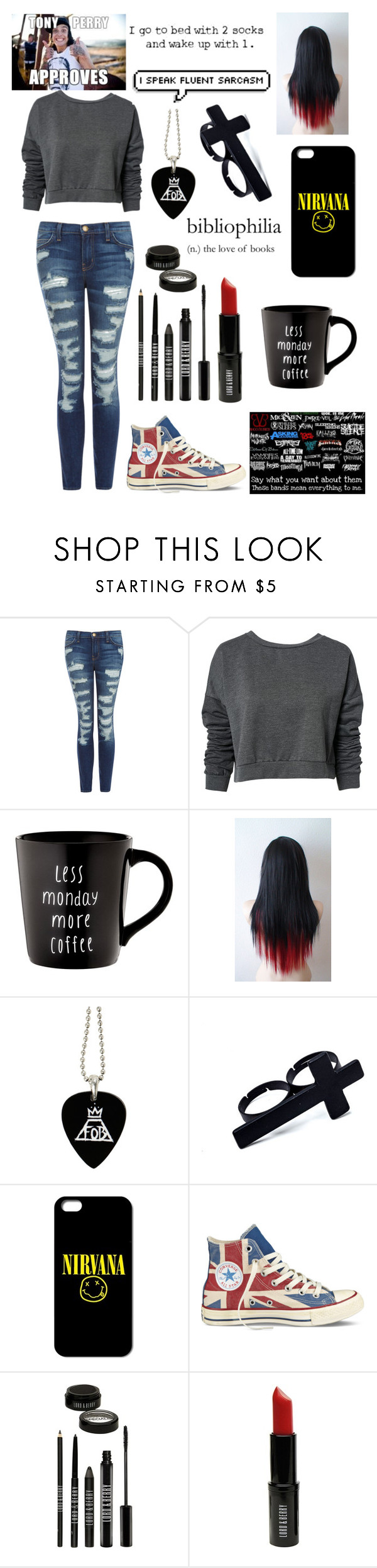 """""""Tony Perry Approves"""" by butternuggetmuke ❤ liked on Polyvore featuring Current/Elliott, ONLY, Converse and Lord & Berry"""