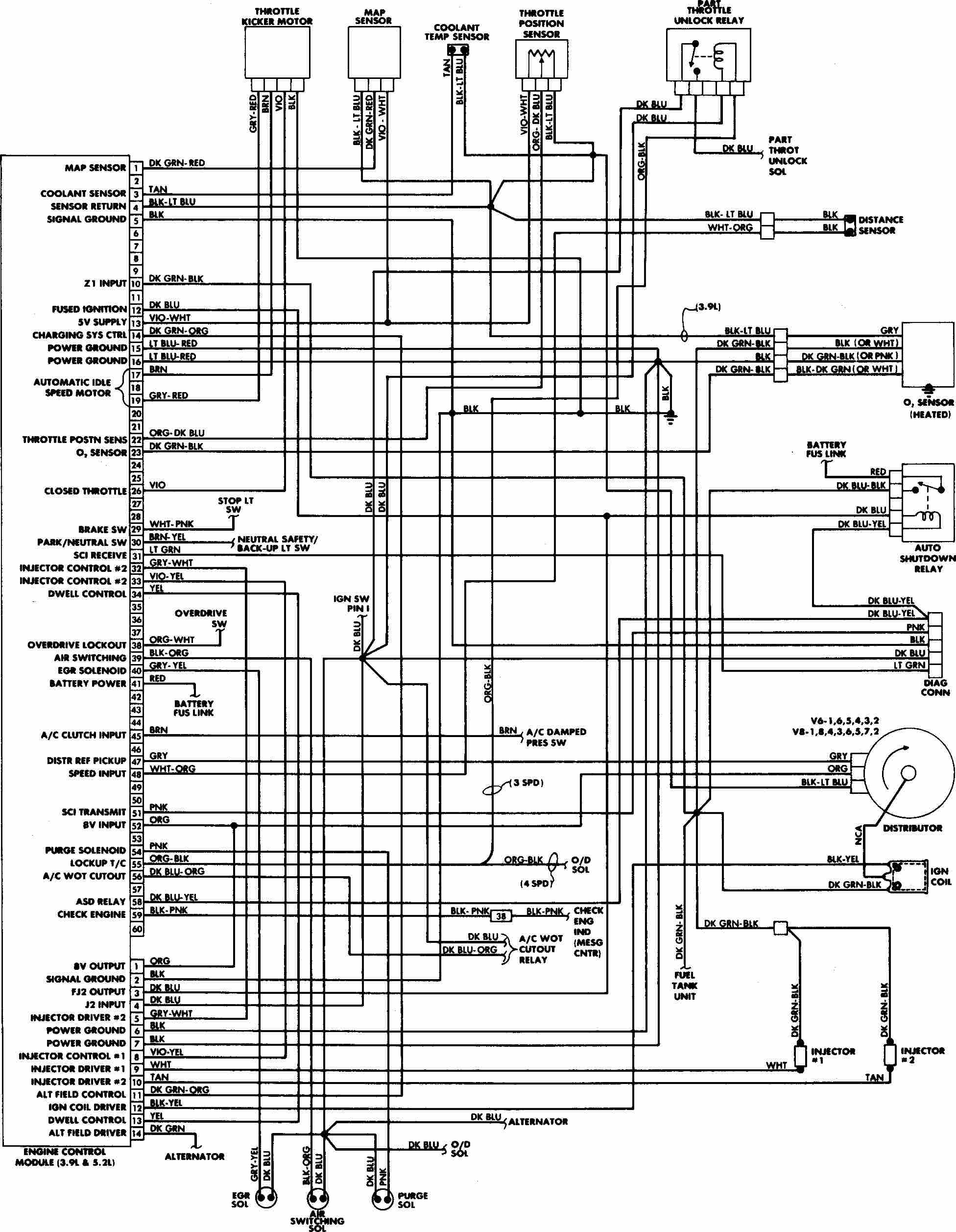 Engine Control Wiring Diagram Of 1988 Dodge W100