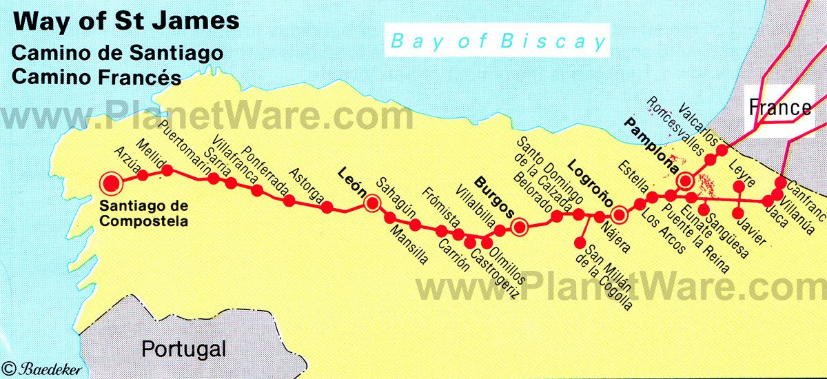 8bd22a282974f Map of Way of St James. One of the three most holy Christian pilgimage  routes to Santiago de Compostela