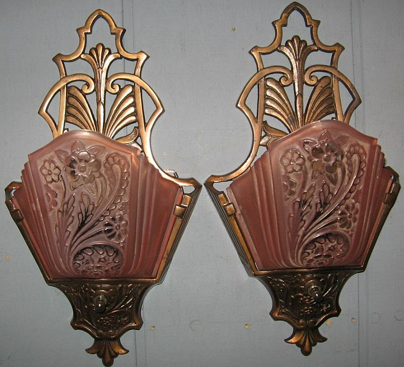 Art Deco Wall Sconce Lights - Consolidated Glass Slip ...