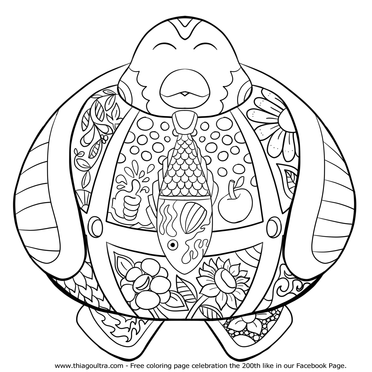 200th like Happy Penguin - Commemorative free coloring page ...