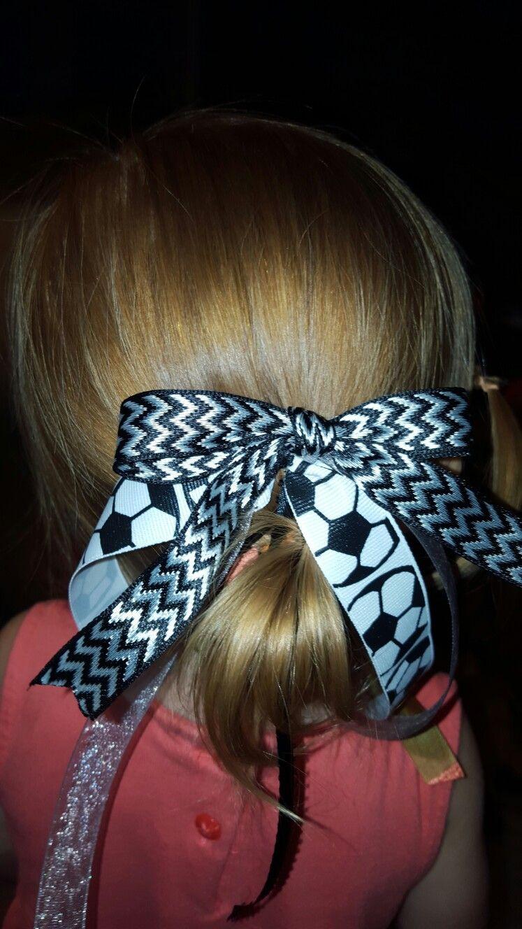 Soccer hair ribbon