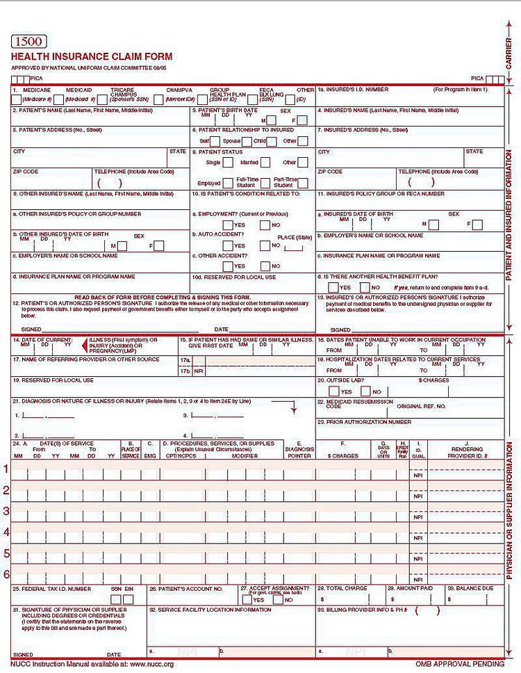 28 Fillable 1500 Claim Form In 2020 Job Application Form Online
