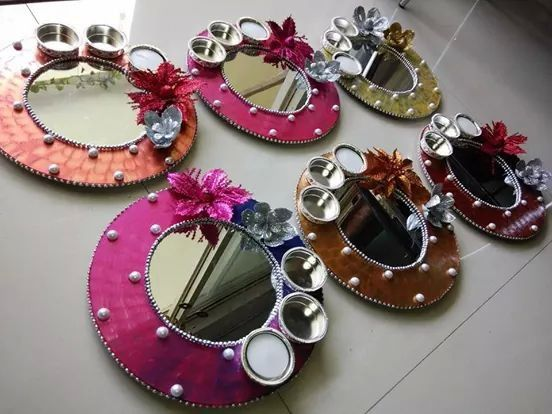 Pooja thali wedding pinterest diwali decoration and for Aarti thali decoration images