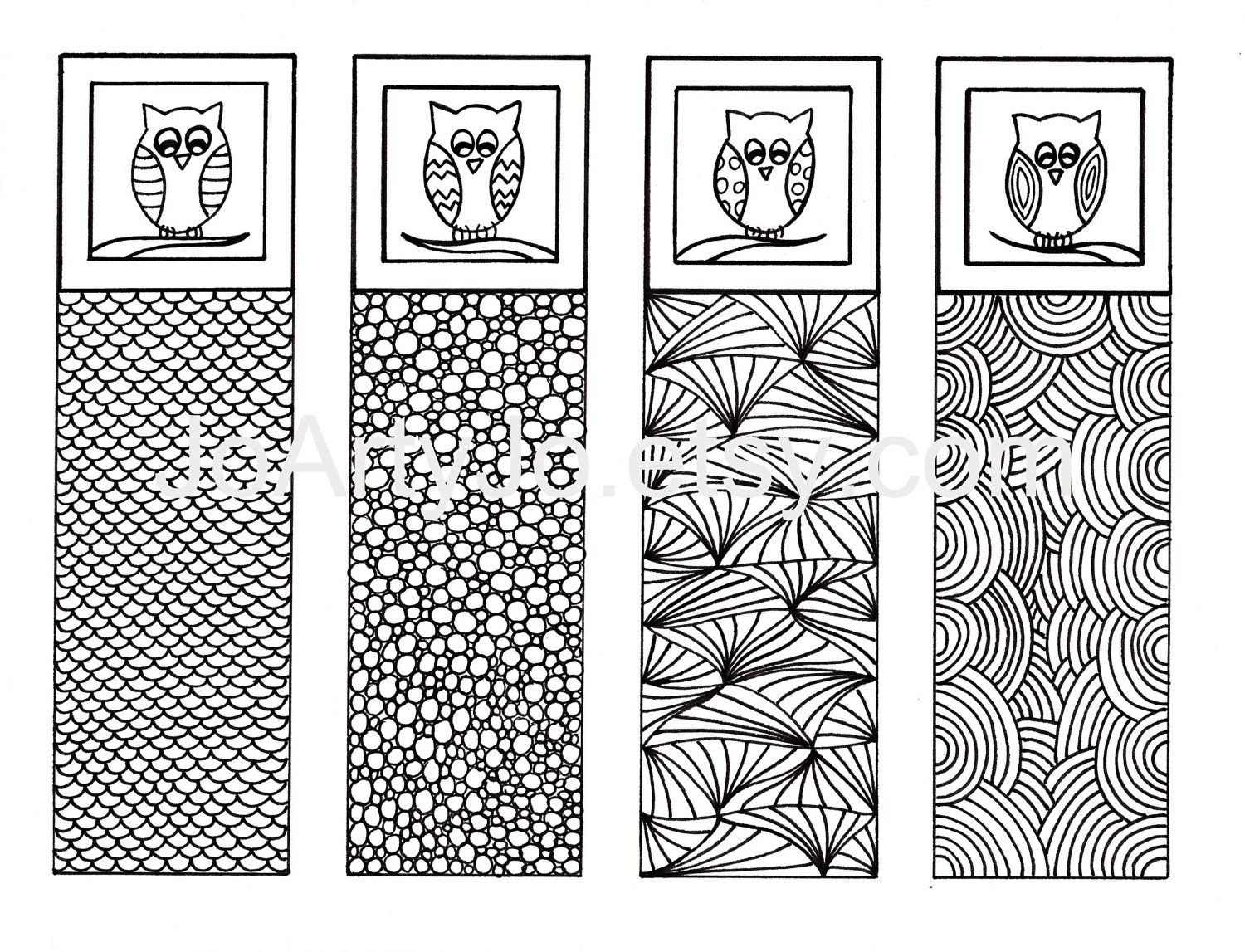 Zen doodle colour - Printable Bookmarks Owl Zendoodle Art Zentangle Inspired Printable Coloring Digital Download Sheet