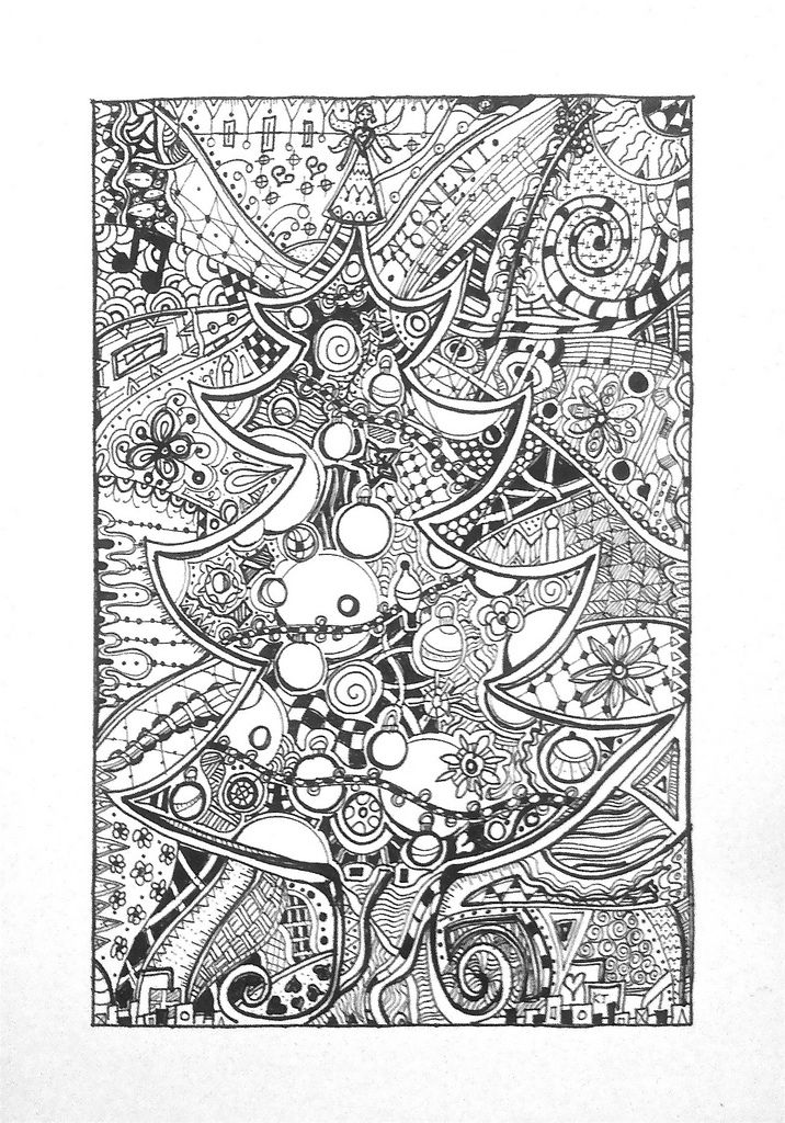 Christmas Tree Zentangle Coloring Books Zentangle Patterns Coloring Pages