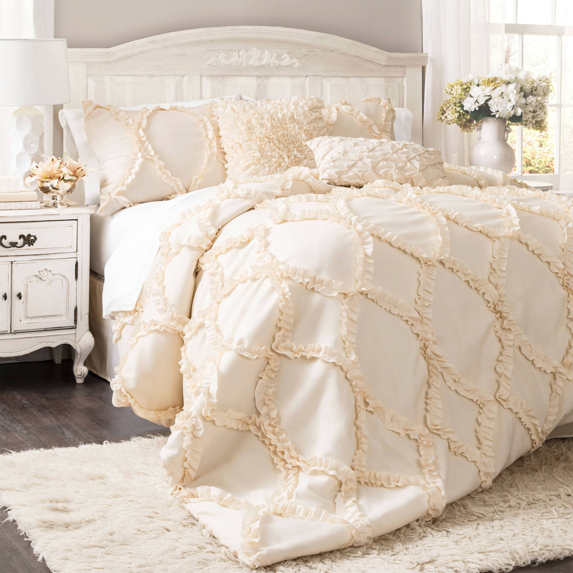 dream master bedroom%0A Give your bedroom a regal  romantic flair with this Lush Decor Avon  threepiece comforter set  Featuring a beautiful white or ivory fabric and  a diamond