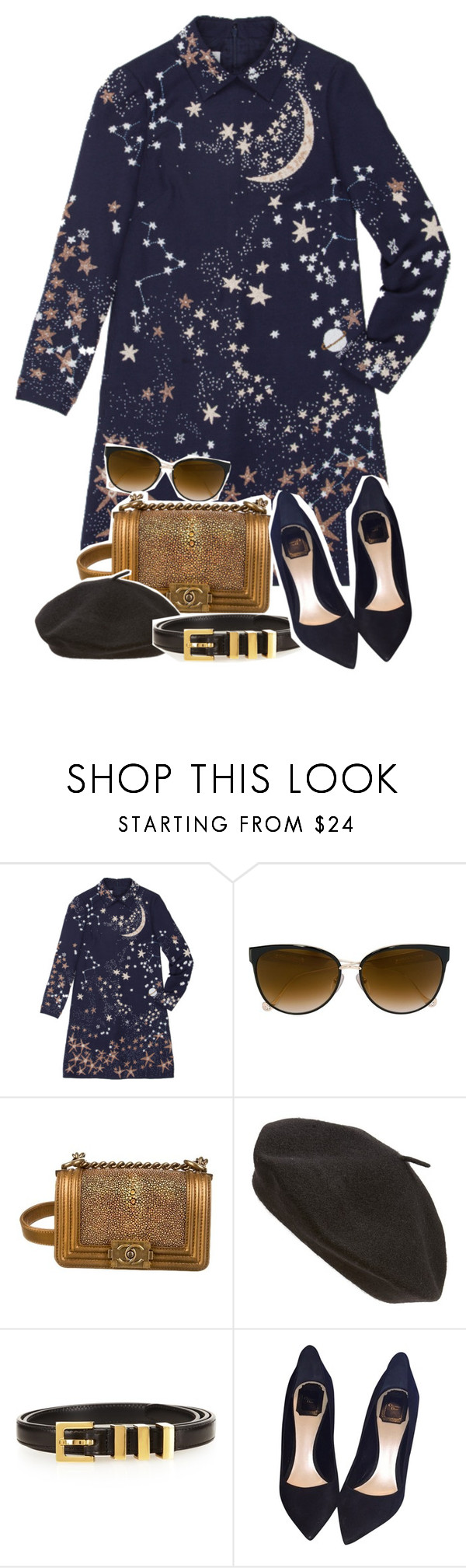 """Untitled #955"" by jawind ❤ liked on Polyvore featuring Valentino, Chrome Hearts, Chanel, Parkhurst, Yves Saint Laurent and Christian Dior"